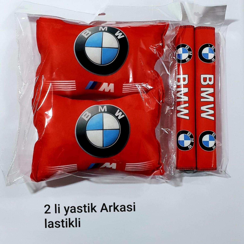 BMW Oto Boyun Yastık Minder - Araç - 2 adet YASTIK KEMER