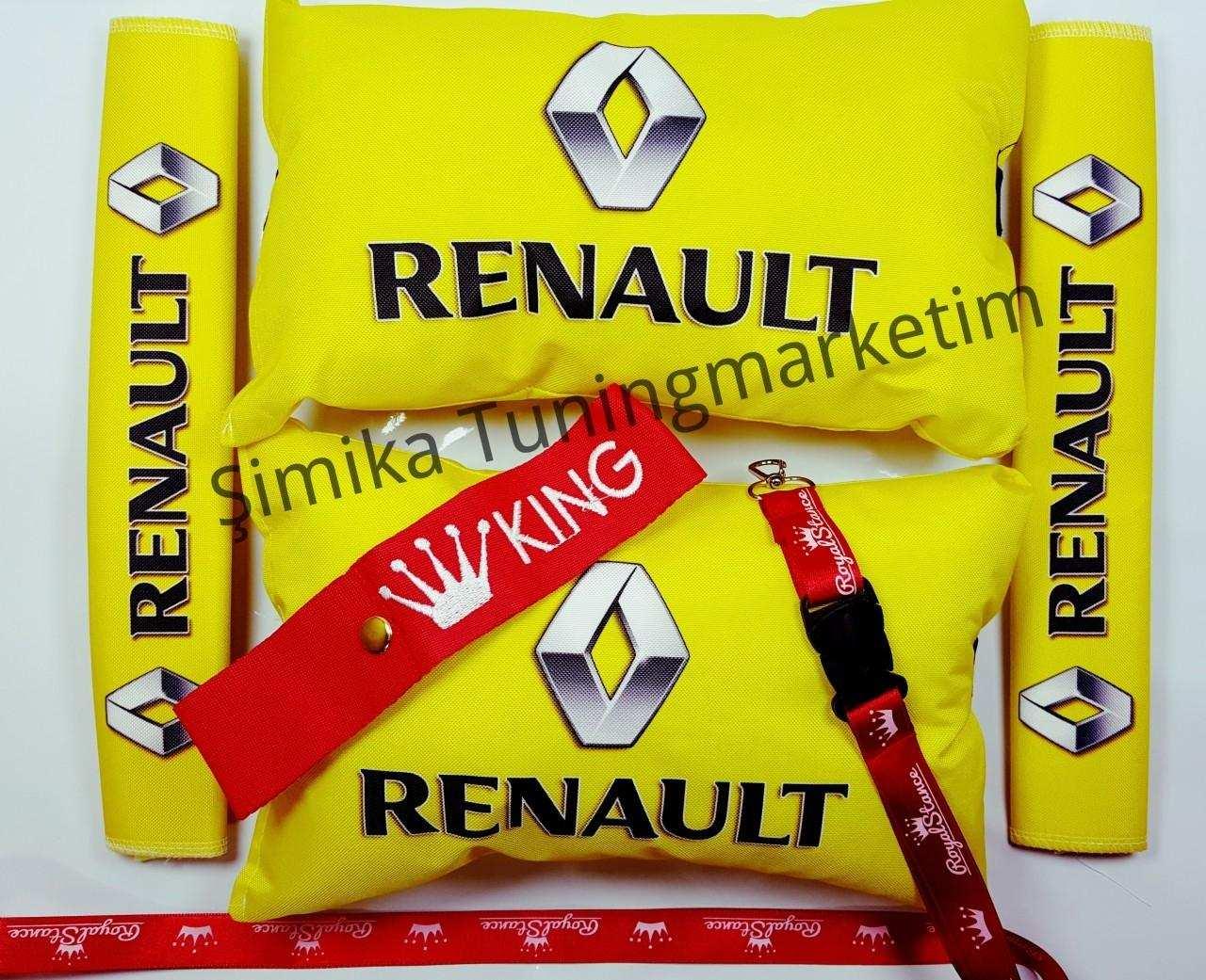 Renault YASTIK LASTİKLİ 2 Lİ VE 2 KEMER KILIFI+ayna ipi ve tampo