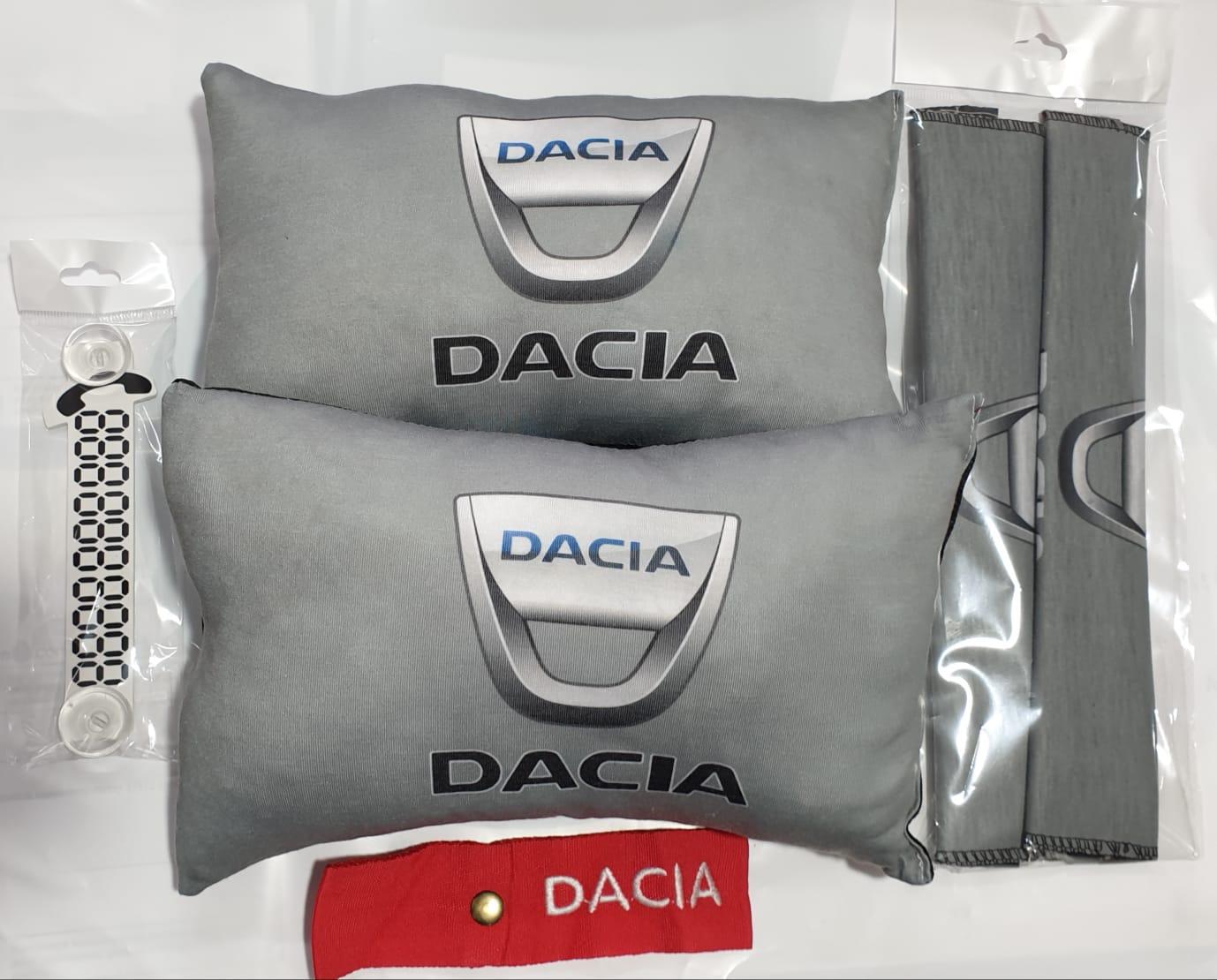 Dacia 2 BOYUN YASTIK 2 KEMER KILIF tampon süsü ve numaramatik parktel elyaf dolgulu konfor minder