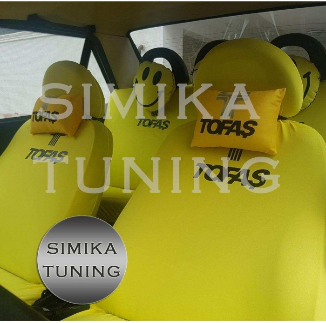 Tofaş Sarı Renk Ön ve Arka Koltuk Penye Kılıf HEDİYE STICKER