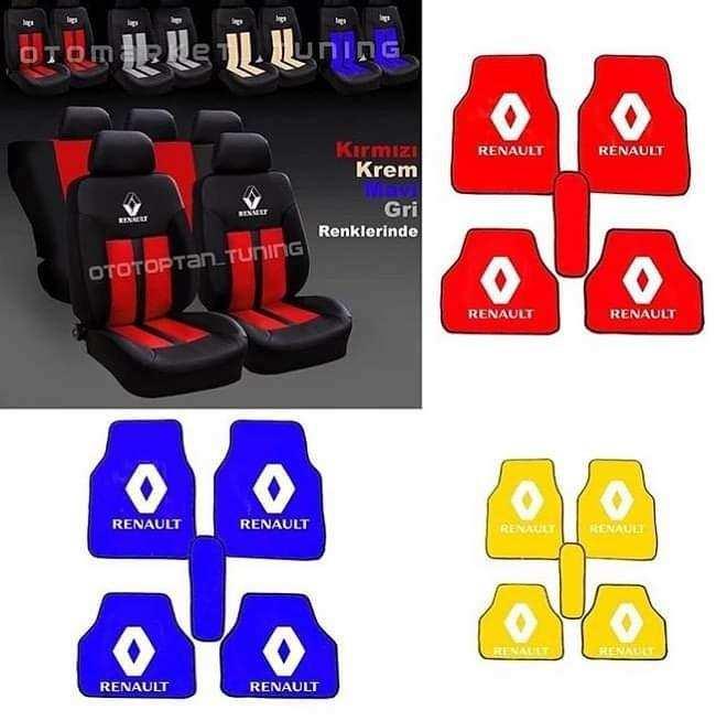 Renault reno Oto Koltuk Kılıfı Ön Arka Set Logolu paspas -Hediye