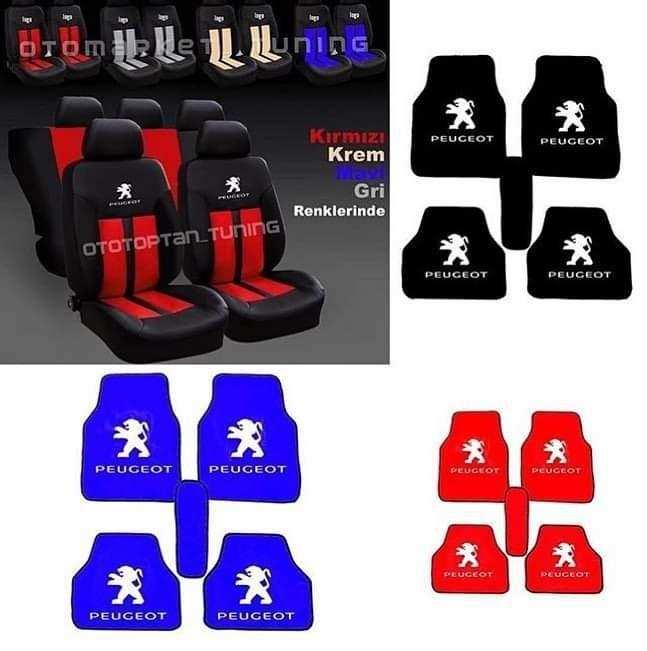 Peugeot pejo Oto Koltuk Kılıfı Ön Arka Set Logolu paspas -Hediye