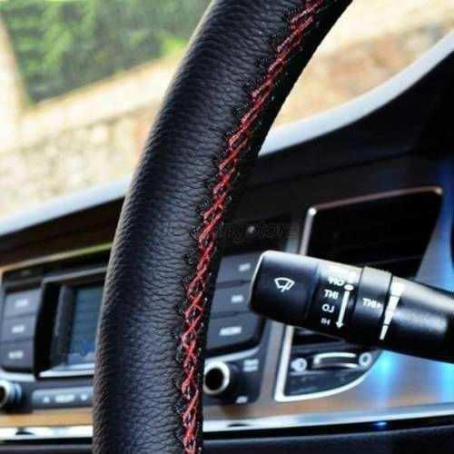 Fiat Nakışlı Oto Dikme Direksiyon Kılıfı Siyah-kırmızı Dikişli i