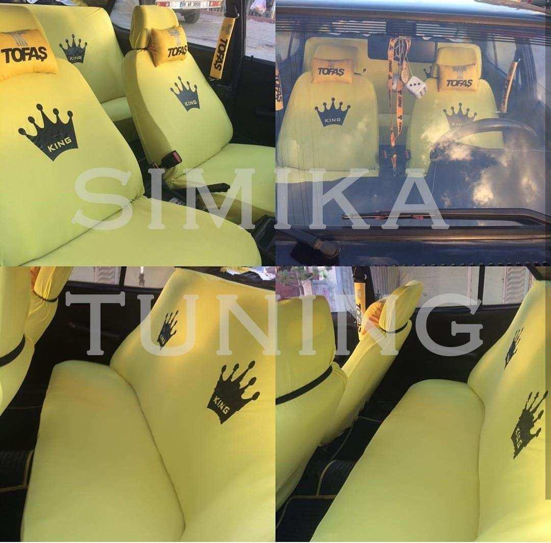 King Sarı Renk Ön Koltuk Penye Kılıf HEDİYE STİCKER