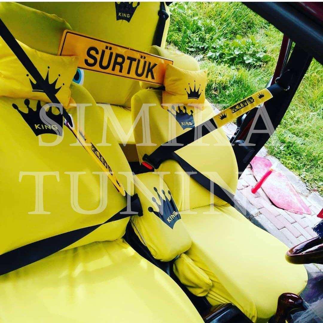 King Sarı Ön ve Arka Koltuk Penye Kılıf Kemer Pedi Boyun Yastığı