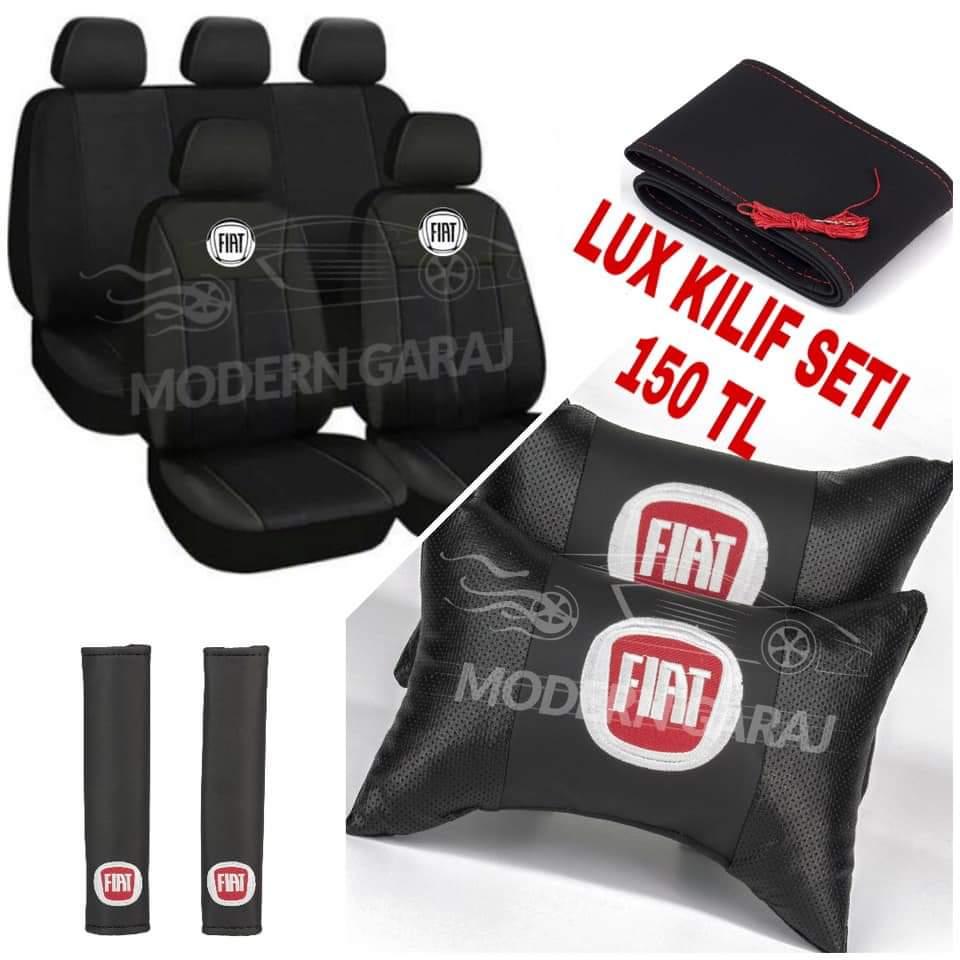 Fiat Şeritli Oto Koltuk Kılıfı Set+ Deri yastık Kemer+ Dikme Direksiyon