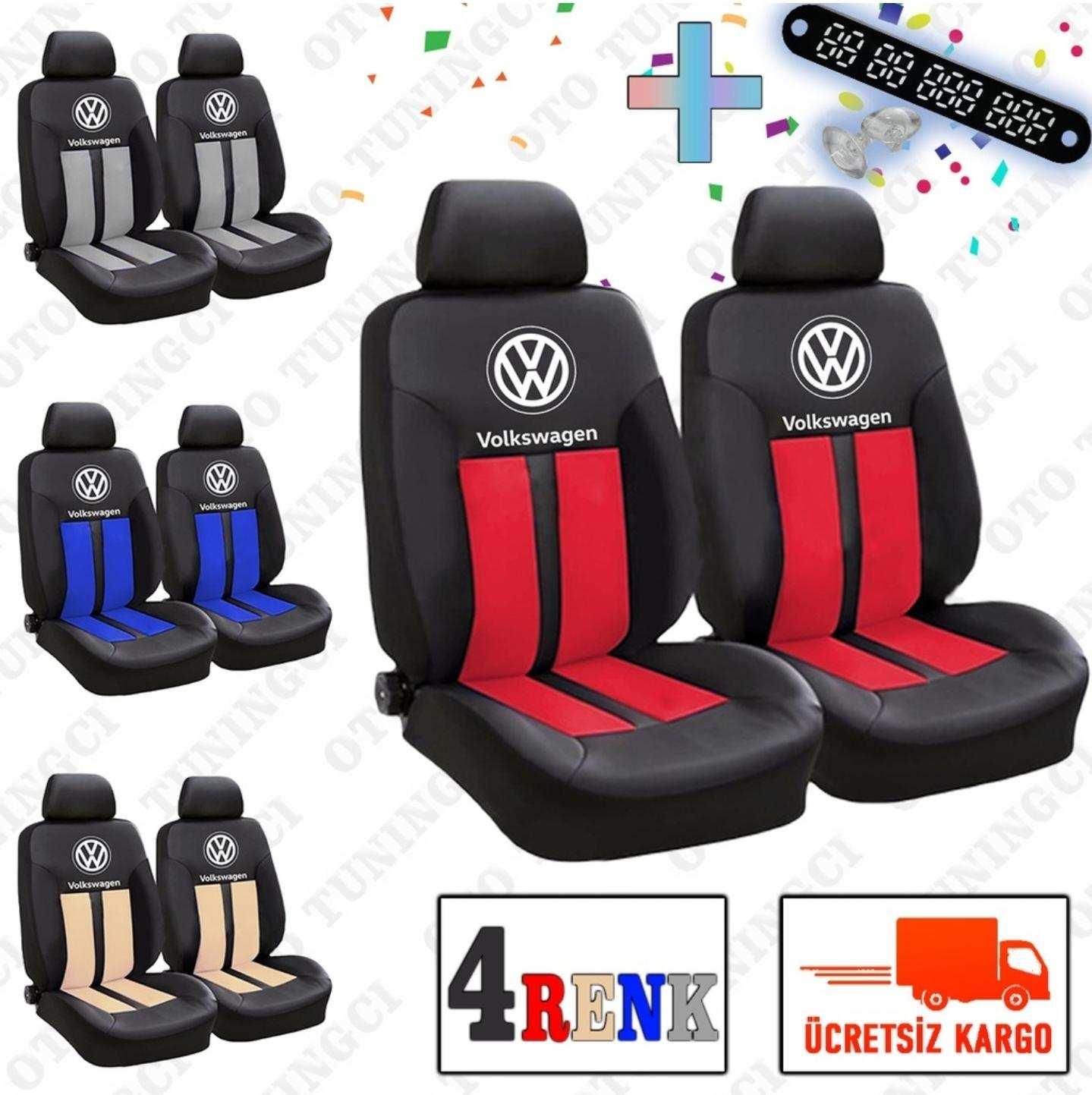 VW SPOR Şeritli Arka Kılıf Dahil Oto Koltuk Kılıfı Set + Numaramatik Parktel HEDİYE