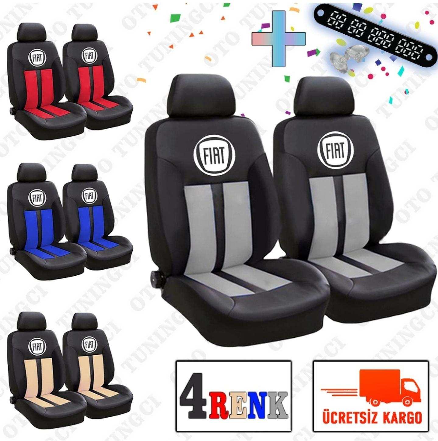 Fiat SPOR Şeritli Arka Kılıf Dahil Oto Koltuk Kılıfı Set + Numaramatik Parktel HEDİYE