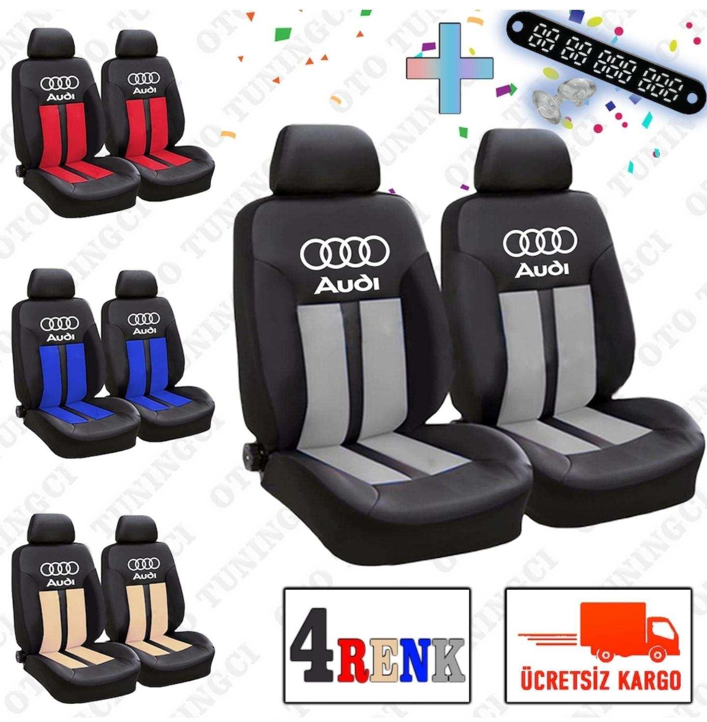 Audi SPOR Şeritli Arka Kılıf Dahil Oto Koltuk Kılıfı Set + Numaramatik Parktel HEDİYE